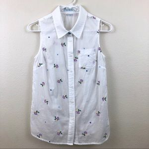 BODEN | Sleeveless Button Down Floral Top | 6R